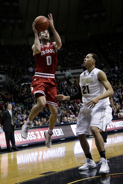 15 February 2014: Indiana Forward Will Sheehey (0) as the Indiana Hoosiers played the Purdue Boilermakers in a college basketball game in West Lafayette, Ind.