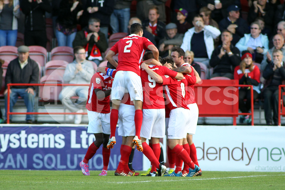 Ebbsfleets Charlie Sheringham celebrates scoring the opening goal during the FA Cup 3Q match between Ebbsfleet United v Basingstoke Town, Stonebridge Road, Northfleet, Kent DA11 9GN on 11 October 2014. Photo by Ken Sparks.