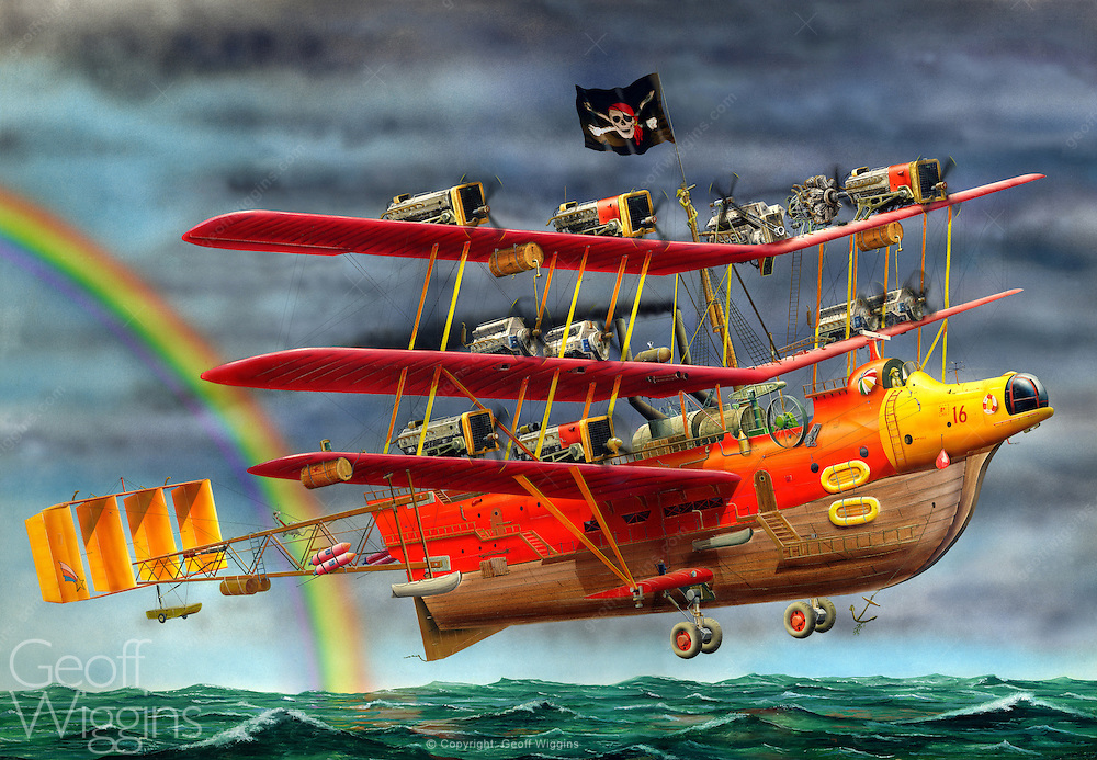 Sky raiders. Flying pirates. Whimsical children's illustration of buccaneers flying boat
