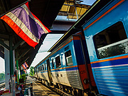 31 MAY 2017 - CHACHOENGSAO, THAILAND: A Bangkok bound train at the train station in Chachoengsao, a provincial town about 50 miles and about an hour by train from Bangkok. The train from Chachoengsao to Bangkok takes a little over an hour but traffic on the roads is so bad that the same drive can take two to three hours. Thousands of Thais live outside of Bangkok and commute into the city for work on trains, busses and boats.       PHOTO BY JACK KURTZ