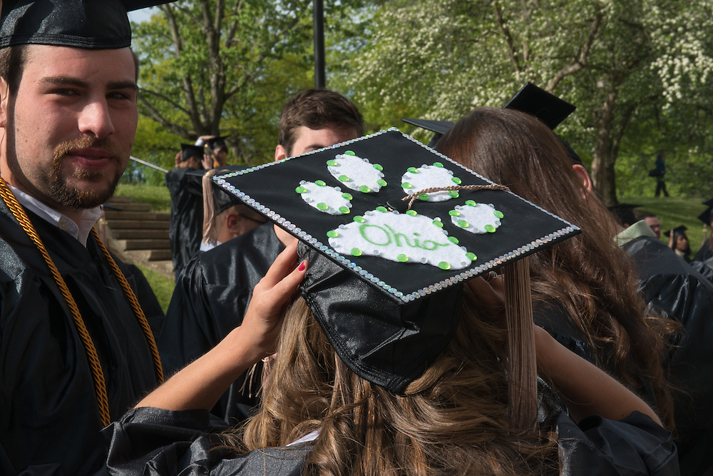 Students prepare to graduate at undergraduate commencement on Saturday, May 4, 2013. Photo by Ben Siegel