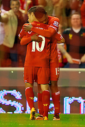 27.08.2013, Anfield, Liverpool, ENG, League Cup, FC Liverpool vs Notts County FC, 2. Runde, im Bild Liverpool's Daniel Sturridge celebrates with team mate Philippe Coutinho Correia after scoring the third goal against Notts County during the English League Cup 2nd round match between Liverpool FC and Notts County FC, at Anfield, Liverpool, Great Britain on 2013/08/27. EXPA Pictures © 2013, PhotoCredit: EXPA/ Propagandaphoto/ David Rawcliffe<br /> <br /> ***** ATTENTION - OUT OF ENG, GBR, UK *****