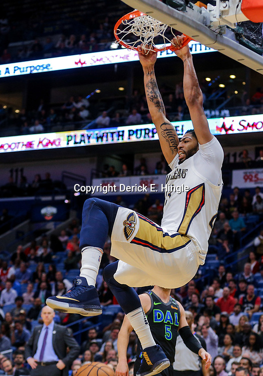 Mar 20, 2018; New Orleans, LA, USA; New Orleans Pelicans forward Anthony Davis (23) dunks against the Dallas Mavericks during the fourth quarter at the Smoothie King Center. Pelicans defeated the Mavericks 115-105. Mandatory Credit: Derick E. Hingle-USA TODAY Sports