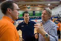 Rasto Oderlap, Gregor Humerca of ACH and Head coach of Slovenian Volleyball national team Veselin Vukovic  at final match of Slovenian National Volleyball Championships between ACH Volley Bled and Salonit Anhovo, on April 24, 2010, in Radovljica, Slovenia. ACH Volley defeated Salonit 3rd time in 3 Rounds and became Slovenian National Champion.  (Photo by Vid Ponikvar / Sportida)