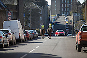 Police horses patrol the streets around Tannadice - Dundee United v Dundee in the Ladbrokes Premiership at Tannadice<br /> <br />  - © David Young - www.davidyoungphoto.co.uk - email: davidyoungphoto@gmail.com