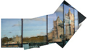 Tower Bridge and teh Tower of London reflected in the windows of London's City Hall. Multi-image composite.