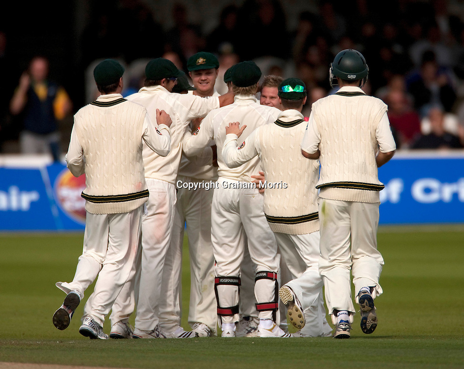 Steve Smith (3rd from right) is swamped by team-mates after his first Test wicket (Imran Farhat) during the MCC Spirit of Cricket Test Match between Pakistan and Australia at Lord's.  Photo: Graham Morris (Tel: +44(0)20 8969 4192 Email: sales@cricketpix.com) 15/07/10