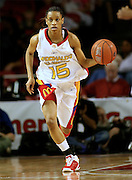 Duke recruit Jasmine Thomas dribbles the ball upcourt during the McDonald's All American High School Basketball Games at Freedom Hall in Louisville, Kentucky on March 28, 2007.