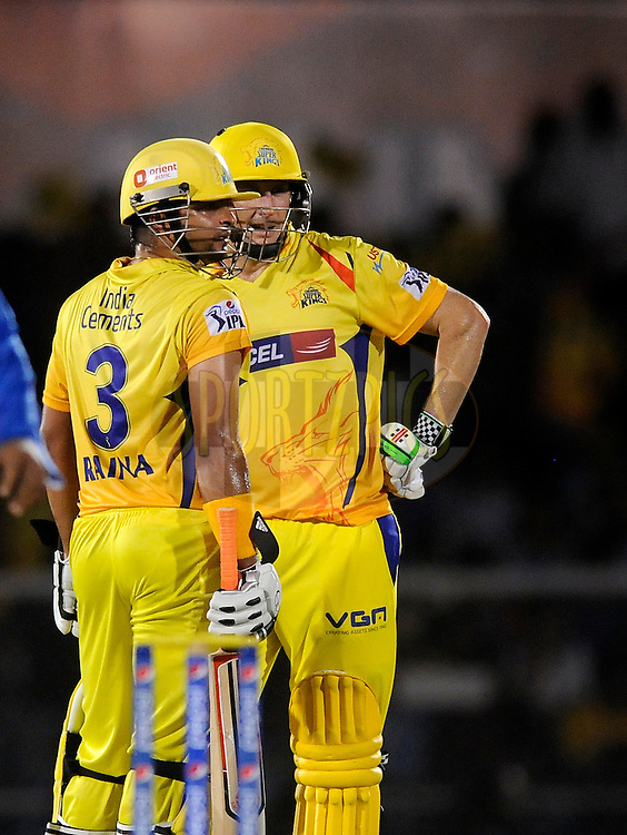 David Hussey of The Chennai Superkings and Suresh Raina of The Chennai Superkings  during the eliminator match of the Pepsi Indian Premier League Season 2014 between the Chennai Superkings and the Mumbai Indians held at the Brabourne Stadium, Mumbai, India on the 28th May  2014<br /> <br /> Photo by Pal PIllai / IPL / SPORTZPICS<br /> <br /> <br /> <br /> Image use subject to terms and conditions which can be found here:  http://sportzpics.photoshelter.com/gallery/Pepsi-IPL-Image-terms-and-conditions/G00004VW1IVJ.gB0/C0000TScjhBM6ikg