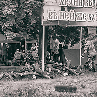 14 May 2014 - Ukraine - Slaviansk - From the window of the car, I photograph this camp of pro Russian soldiers between Donetsk and Slaviansk.