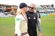 Chris Rogers and Matthew Maynard of Somerset on the parade around the County Ground after his teams win over Nottinghamshire the Specsavers County Champ Div 1 match between Somerset County Cricket Club and Nottinghamshire County Cricket Club at the Cooper Associates County Ground, Taunton, United Kingdom on 22 September 2016. Photo by Graham Hunt.
