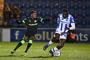 Forest Green Rovers Midfielder Reece Brown (10) and Colchester United Forward Frank Nouble (45) in action during the EFL Sky Bet League 2 match between Colchester United and Forest Green Rovers at the JobServe Community Stadium, Colchester, England on 12 March 2019.
