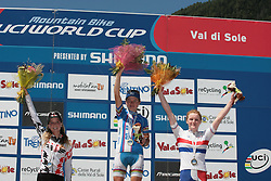31/07/2010 MOUNTAIN BIKE UCI WORLD CUP, VAL DI SOLE, ITALY, 2010 .1) Tanja Zakelj (SLO), 2) Emily Batty (CAN), 3) Annie Last (GBR). Tanja ZAKELJ won the Under23 category of the 5th stage of the World Cup in cross-country mountain bike..© Photo Pierre Teyssot / Sportida.com.