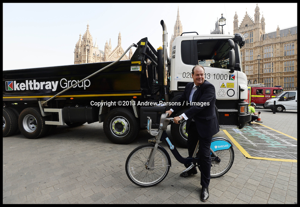 Transport Minister Stephen Hammond unveils plans to tackle HGV-cycle safety in capital, London, United Kingdom. Wednesday, 4th September 2013. Picture by Andrew Parsons / i-Images