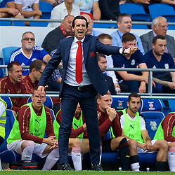 CARDIFF, WALES - Sunday, September 2, 2018: Arsenal's manager Unai Emery during the FA Premier League match between Cardiff City FC and Arsenal FC at the Cardiff City Stadium. (Pic by David Rawcliffe/Propaganda)