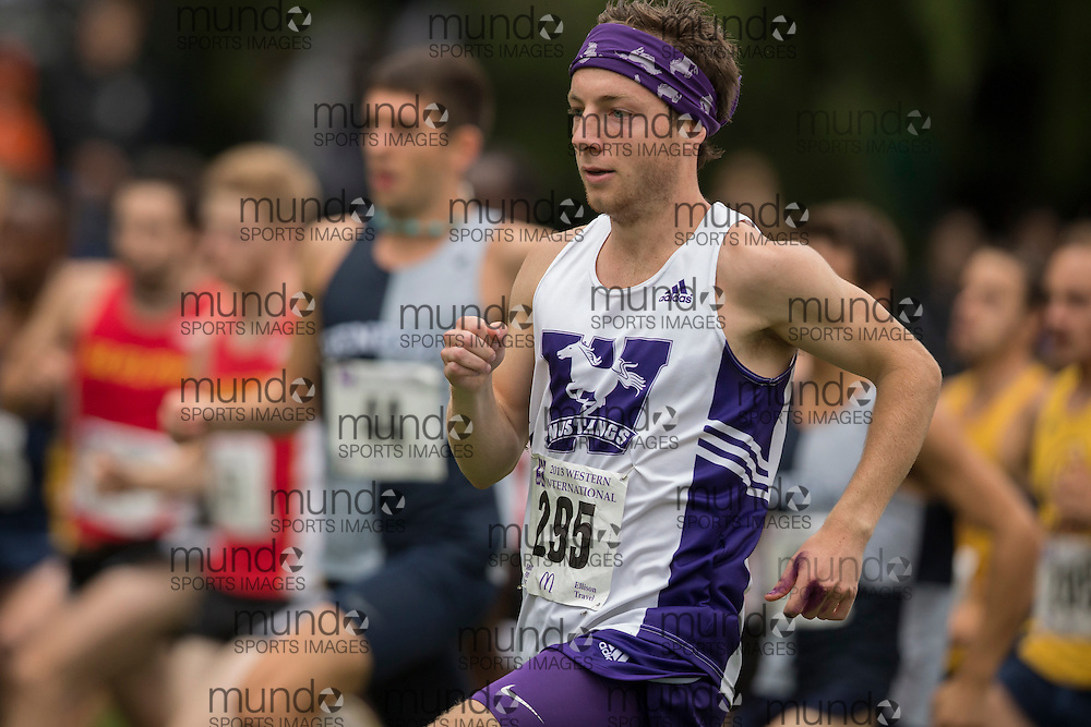 Kevin Blackney of the Western Mustangs runs in the men's 8K Run at the 2013 Western International Cross country meet in London Ontario, Saturday,  September 21, 2013.<br /> Mundo Sport Images/ Geoff Robins