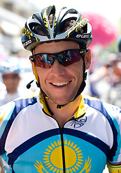 Lance Armstrong (USA) of  Team Astana at start point of the 198 km long 3rd stage from Grado, Italy to Valdobbiadene, Italy at 92nd Giro d'Italia, on May 11, 2009, in Grado, Italy.  (Photo by Vid Ponikvar / Sportida)
