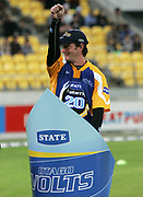 Qtago Volts player Warren McSkimming during the State Twenty20 uniform launch held during the break in innings at the first Twenty20 match between the New Zealand Black Caps and Sri Lanka held at Westpac Stadium in Wellington, New Zealand on Friday, 22 December 2006. Sri Lanka won the match on Duckworth Lewis calculations. Photo: Tim Hales/PHOTOSPORT