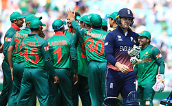 England's Jason Roy leaves the field after being dismissed during the ICC Champions Trophy, Group A match at The Oval, London.