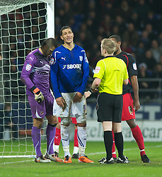 CARDIFF, WALES - Tuesday, February 1, 2011: Cardiff City's Jay Bothroyd shows his frustration as Referee Gavin Ward has a word during the Football League Championship match at the Cardiff City Stadium. (Photo by Gareth Davies/Propaganda)