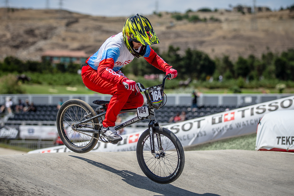 Women Junior #164 (VASKOVA Viktoria) RUS at the 2018 UCI BMX World Championships in Baku, Azerbaijan.