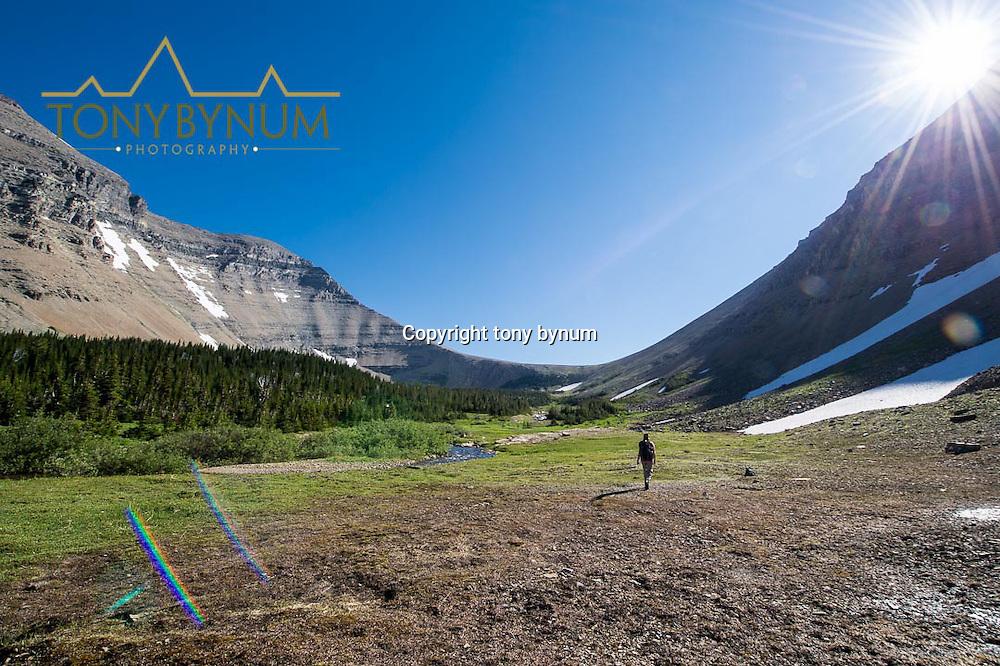 preston park woman hiking toward siyeh pass glacier national park