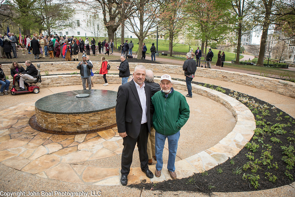 Monacan Chief, Dean Branham, left and his cousin, Branch Branham, at the new monument, Mantle: Virginia Indian Tribute, built on the Virginia State Capitol Square, in Richmond, Virginia, on Tuesday, April 17, 2018. John Boal Photography