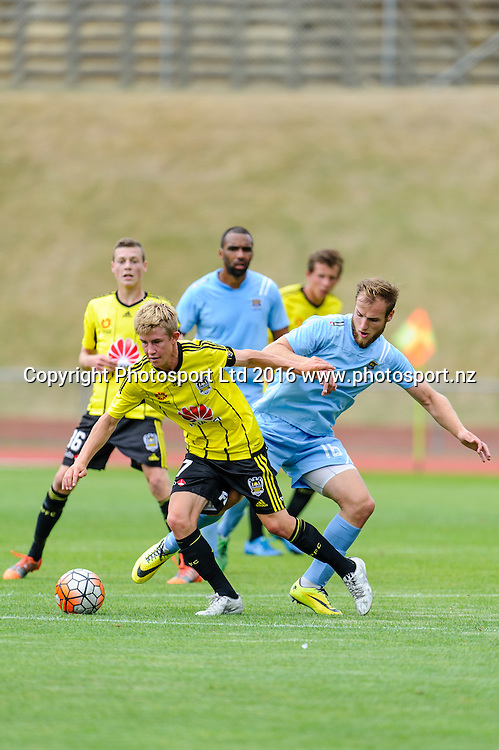 Hamish Watson tries to tackle Liam Hare during ASB premiership Wellington Phoenix vs. Hawke's Bay United match at Newtown Park, Wellington, New Zealand. Saturday 6th February  2016. Copyright Photo: Mark Tantrum / www.Photosport.nz