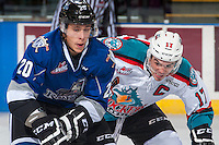 KELOWNA, CANADA - SEPTEMBER 3: Rodney Southam #17 of Kelowna Rockets checks Gunnar Wegleitner #20 of Victoria Royals during first period on September 3, 2016 at Prospera Place in Kelowna, British Columbia, Canada.  (Photo by Marissa Baecker/Shoot the Breeze)  *** Local Caption *** Rodney Southam; Gunnar Wegleitner;
