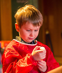 City Arts Centre, Edinburgh, Scotland, United Kingdom, 9 April 2019. Edinburgh Science Festival:   Alex, age 6 years, has fun learning about blood at the Blood Bar drop in event at the Science Festival. <br /> <br /> Sally Anderson | EdinburghElitemedia.co.uk