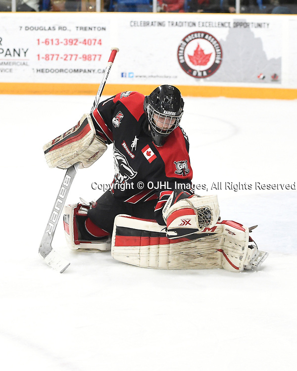 TRENTON, ON - APR 15,  2017: Ontario Junior Hockey League, Championship Series. Georgetown Raiders vs the Trenton Golden Hawks in Game 2 of the Buckland Cup Final.  Josh Astorino #1 of the Georgetown Raiders makes the save during the second period.<br /> (Photo by Andy Corneau / OJHL Images)