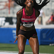 BARRETT - 13USA, Des Moines, Ia. - Brigetta Barrett was ecstatic with her personal best performance in the high jump.   Photo by David Peterson