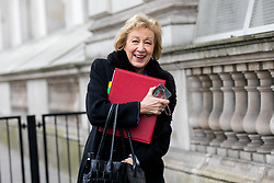 © Licensed to London News Pictures. 09/01/2018. London, UK. Leader of the House of Commons Andrea Leadsom walking through Whitehall to attend a Cabinet meeting in Downing Street this morning. Yesterday British Prime Minister Theresa May reshuffled her cabinet, appointing some new ministers. Photo credit : Tom Nicholson/LNP