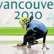 February 13, 2009 - 2010 Winter Olympics - Vancouver, Canada - Katherine Reutter competes in 500m Sort Track Speed Skating preliminary competition held at the Pacific Coliseum during the 2010 Winter Olympic Games.