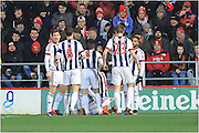 Salomon Rondon goal celebration during the The FA Cup Third Round Replay match between Bristol City and West Bromwich Albion at Ashton Gate, Bristol, England on 19 January 2016. Photo by Daniel Youngs.