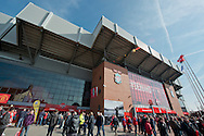 A general view of the outside of the Kop stand before the Barclays Premier League match at Anfield, Liverpool<br /> Picture by Russell Hart/Focus Images Ltd 07791 688 420<br /> 22/03/2015