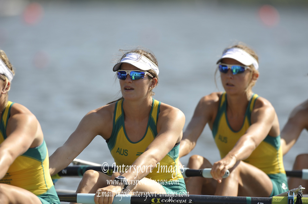 Poznan, POLAND,    AUS W4-, Bow, Sophia ROBSON, Laura OSTI, Elizabeth ALDERMAN and Emily ROSE, competing in the race for lanes, on the third  day of the, 2009 FISA World Rowing Championships. held on the Malta Rowing lake,Tuesday  25/08/2009  [Mandatory Credit. Peter Spurrier/Intersport Images]