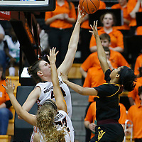 Oregon State's Ruth Hamblin, left, blocks the shot of Arizona State's Arnecia Hawkins in the second half of an NCAA college basketball game in Corvallis, Ore., on Monday, Feb. 1, 2016. Oregon State won 67-44. (AP Photo/Timothy J. Gonzalez)