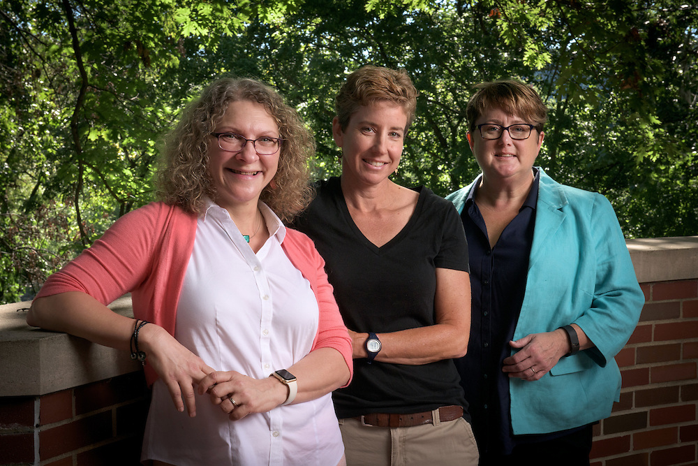 Cindy Anderson, right, Michelle O'Malley, center, and Nancy Sandler, left, at Bryan Hall on August 22, 2016.