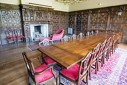 © London News Pictures. Pictured - The dinning room that contains the fire place taken from King James I hunting lodge & dates back to 1605. Previously unseen pictures of Beatrix potter with her family have been unearthed during the purchase and restoration of the Lingholm Estate, the Potter family holiday home, where Beatrix potter drew inspiration for many of her most famous characters. Famous books such as Peter Rabbit and Squirrel Nutkin were inspired by the surroundings of the Cumbria estate, which is being opened to the public for the first time. Photo credit: Andrew McCaren/LNP WORDS AVAILABLE HERE http://tinyurl.com/oyb7url