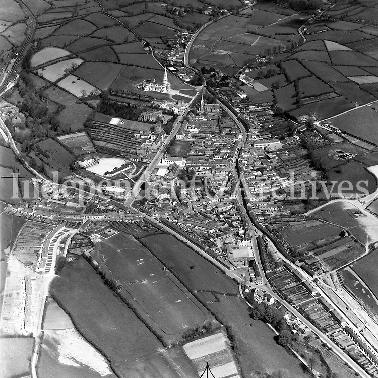A102 Cavan.   28/03/52. (Part of the Independent Newspapers Ireland/NLI collection.)<br /> <br /> <br /> These aerial views of Ireland from the Morgan Collection were taken during the mid-1950's, comprising medium and low altitude black-and-white birds-eye views of places and events, many of which were commissioned by clients. From 1951 to 1958 a different aerial picture was published each Friday in the Irish Independent in a series called, 'Views from the Air'.<br /> The photographer was Alexander 'Monkey' Campbell Morgan (1919-1958). Born in London and part of the Royal Artillery Air Corps, on leaving the army he started Aerophotos in Ireland. He was killed when, on business, his plane crashed flying from Shannon.