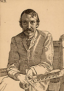 Robert Louis Balfour Stevenson (1850-1894) Scottish author, born in Edinburgh. Etching by William Strang (1859-1821) after a photograph.  Frontispiece of 'Vailima Letters' (London, 1895), correspondence from Stevenson to Sidney Colvin 1890-1894.