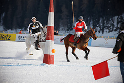 Bautista Ortiz de Urbina scoring for team Switzerland<br /> St.Moritz Polo World Cup On Snow 2011<br /> © Dirk Caremans