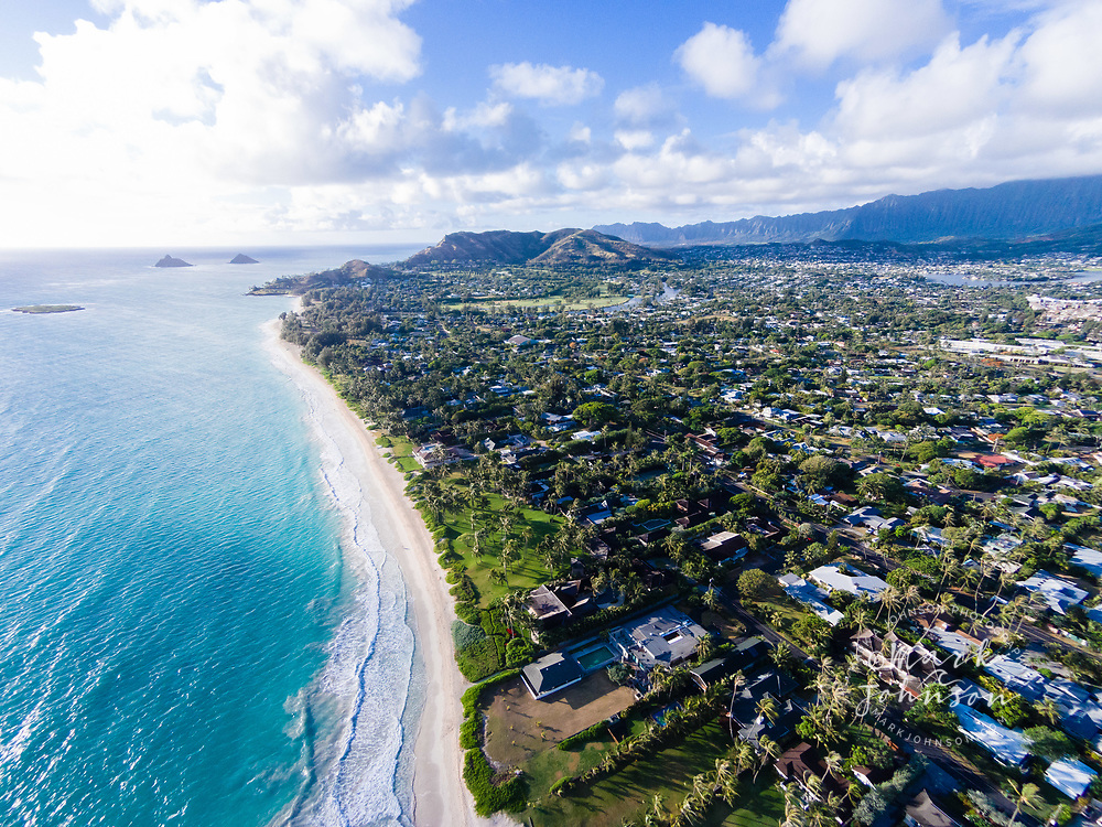 Aerial view of Kailua Beach, Oahu, Hawaii