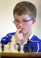 Cormac Sheridan from  Cavan ponders his next move during the under 13's Chess competition at the Community Games in AIT Athlone. Picture Credit: Frank Mc Grath<br /> 13/8/16
