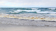 Lake Superior, at the mouth of the Hurricane River, was assuming its winter character on this October day.