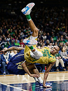 SOUTH BEND, IN - FEBRUARY 26: Bonzie Colson #35 of the Notre Dame Fighting Irish tumbles with Tadric Jackson #1 of the Georgia Tech Yellow Jackets at Purcell Pavilion on February 26, 2017 in South Bend, Indiana.  (Photo by Michael Hickey/Getty Images) *** Local Caption *** Bonzie Colson; Tadric Jackson
