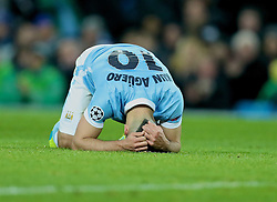 MANCHESTER, ENGLAND - Tuesday, March 15, 2016: Manchester City's Sergio Aguero looks dejected after missing a chance against FC Dynamo Kyiv during the UEFA Champions League Round of 16 2nd Leg match at the City of Manchester Stadium. (Pic by David Rawcliffe/Propaganda)