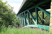 Another engineering masterpiece, the Cut River Bridge (as viewed from the south) has carried highway US-2 over the Cut River Gorge, and the Cut River, 147 feet below, since 1947. This is one of only two cantilevered deck truss bridges in Michigan, the other being the Mortimer E. Cooley bridge that carries highway M-55 over the Pine River in Manistee County where I lived for a number of years in the 70's. This bridge contains nearly 900 tons of steel.