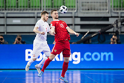 Michal Kubik of Poland and Sergei Abramovich of Russia during futsal match between Russia and Poland at Day 1 of UEFA Futsal EURO 2018, on January 30, 2018 in Arena Stozice, Ljubljana, Slovenia. Photo by Urban Urbanc / Sportida